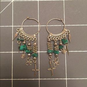 Charms and Malachite Hoop Earrings